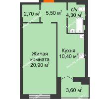 1 комнатная квартира 47,4 м² в ЖК Парк Островского 2, дом № 1 - планировка