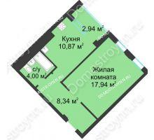 1 комнатная квартира 42,62 м² в ЖК Воскресенская слобода, дом №1 - планировка
