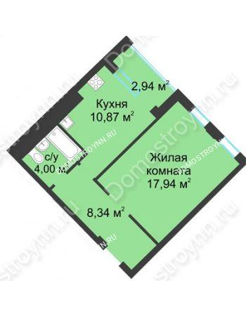 1 комнатная квартира 42,62 м² в ЖК Воскресенская слобода, дом №1