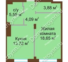 1 комнатная квартира 45,89 м² в ЖК Сердце Нижнего, дом № 36 - планировка