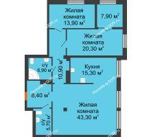 3 комнатная квартира 128,7 м², ЖК Богатяновский - планировка