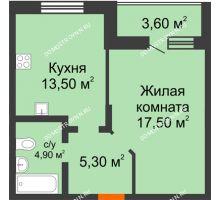 1 комнатная квартира 44,8 м² в ЖК Подкова на Цветочной, дом № 7 - планировка