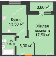 1 комнатная квартира 44,8 м² в ЖК Подкова на Цветочной, дом № 9 - планировка