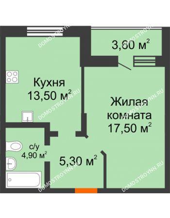 1 комнатная квартира 43 м² в ЖК Подкова на Цветочной, дом № 7