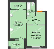 1 комнатная квартира 45,79 м² в ЖК Измаильский экоквартал, дом 1 этап - планировка
