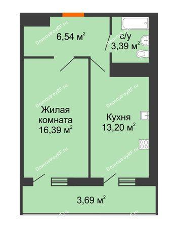 1 комнатная квартира 43,21 м² в ЖК Фамилия, дом Литер 1