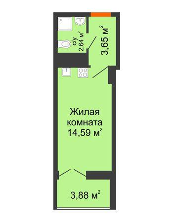 Студия 22,82 м² в ЖК Аврора, дом № 3