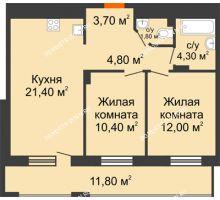 2 комнатная квартира 64,3 м², ЖК Корица - планировка
