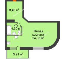 Студия 37,11 м² в ЖК На Мельникайте, дом ГП-17 - планировка