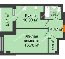 1 комнатная квартира 43,14 м², ЖК Площадь Ленина - планировка
