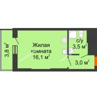 Студия 26,4 м², ЖК Космолет - планировка