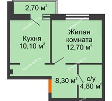 1 комнатная квартира 37,3 м², ЖК Дом на Курчатова - планировка