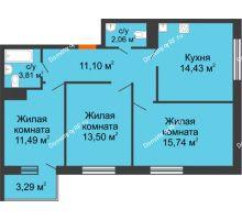 3 комнатная квартира 73,11 м² в ЖК Юго-Западный, дом ГП-1 - планировка