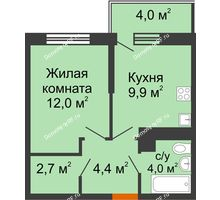 1 комнатная квартира 34,2 м² в ЖК Отражение, дом Литер 2.2 - планировка
