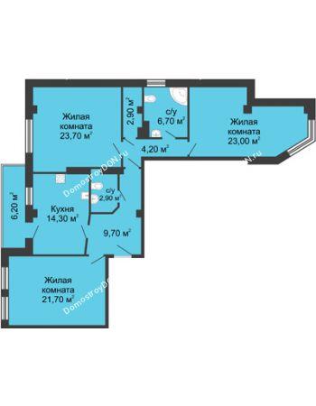 3 комнатная квартира 112,2 м² - ЖК Дом на Береговой
