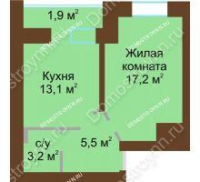 1 комнатная квартира 42,8 м² в ЖК Рубин, дом № 67