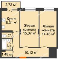 2 комнатная квартира 55,1 м², Жилой дом Кислород - планировка