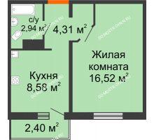 1 комнатная квартира 33,07 м² в ЖК Торпедо, дом № 17 - планировка