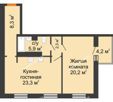 2 комнатная квартира 62,1 м² - ЖК Дом на 17-й Линии, 3