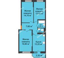 3 комнатная квартира 71,6 м² в ЖК Южный Берег, дом Литер 4 - планировка