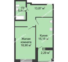 1 комнатная квартира 58,34 м² в ЖК Тихий Дон, дом № 3 - планировка
