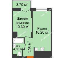 1 комнатная квартира 36,25 м² в ЖК КМ Анкудиновский парк, дом № 15 - планировка
