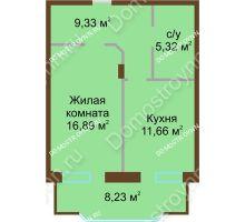 1 комнатная квартира 51,43 м² в ЖК Солнечный город, дом на участке № 208