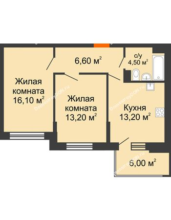 2 комнатная квартира 56,6 м² в ЖК Династия, дом Литер 2