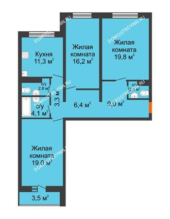 3 комнатная квартира 95,7 м² - ЖК Дом на Горького