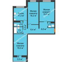 3 комнатная квартира 95,7 м², ЖК Дом на Горького - планировка