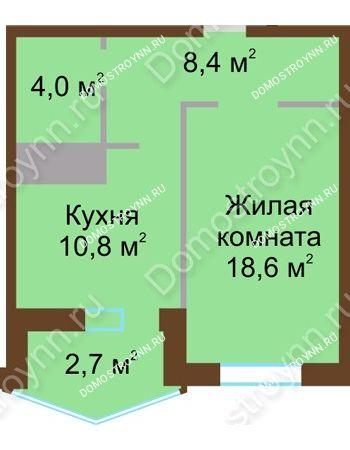 1 комнатная квартира 44,5 м² в ЖК Монолит, дом № 89, корп. 1, 2