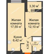 2 комнатная квартира 45,77 м², ЖК ПАРК - планировка