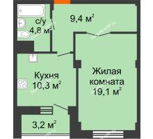1 комнатная квартира 45,2 м², ЖК Вершина - планировка