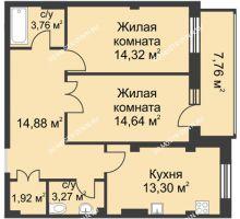 2 комнатная квартира 70,9 м² в ЖК Премиум, дом №1