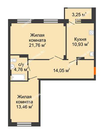 2 комнатная квартира 66,59 м² - ЖК Семейный