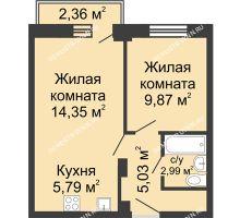 2 комнатная квартира 38,73 м² - ЖК Каскад на Волжской