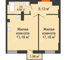 2 комнатная квартира 40,67 м², ЖК West Side (Вест Сайд) - планировка
