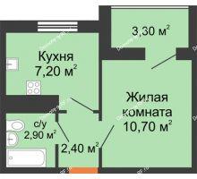 1 комнатная квартира 23,2 м² в ЖК Грани, дом Литер 3 - планировка