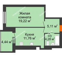 1 комнатная квартира 42,58 м² в ЖК Свобода, дом 1 очередь - планировка