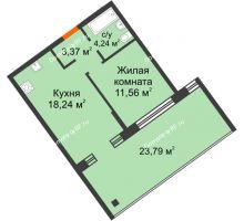 """1 комнатная квартира 37,56 м² в Микрорайон Звездный, дом ГП-1 (Дом """"Меркурий"""") - планировка"""