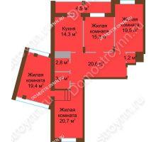 4 комнатная квартира 121,7 м² в ЖК Монолит, дом № 89, корп. 1, 2 - планировка