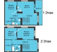 3 комнатная квартира 107,31 м² в ЖК Октябрьский, дом ГП-3 - планировка