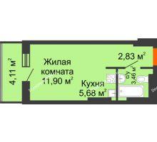 Студия 27,98 м² в ЖК Днепровская Роща, дом № 2 - планировка