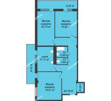 3 комнатная квартира 91,6 м² в  ЖК РИИЖТский Уют, дом Секция 1-2 - планировка