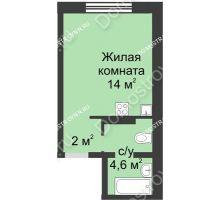 Студия 20,6 м² в ЖК Мега, дом № 2 - планировка