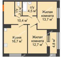 2 комнатная квартира 62,7 м² в ЖК Цветы 2, дом № 7 - планировка