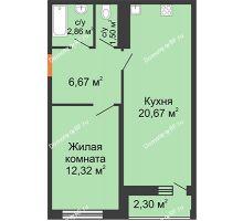 1 комнатная квартира 39,1 м² в ЖК Рекорд, дом 2 этап - планировка