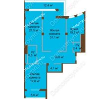 3 комнатная квартира 128 м², ЖК Бояр Палас - планировка