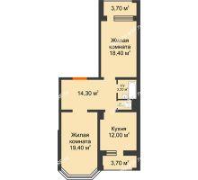 2 комнатная квартира 72,3 м², ЖК Приоритет - планировка
