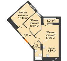 2 комнатная квартира 62,45 м² в ЖК Дом на Набережной, дом № 1 - планировка